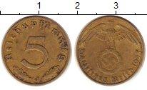 Изображение Монеты Третий Рейх 5 пфеннигов 1937 Латунь XF J.