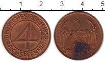 Изображение Монеты Веймарская республика 4 пфеннига 1932 Бронза UNC-