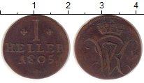 Изображение Монеты Гессен-Кассель 1 геллер 1805 Медь VF Вензель