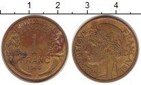Изображение Монеты Франция Французская Африка 1 франк 1944 Латунь XF-