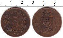 Изображение Монеты Норвегия 5 эре 1876 Медь XF- Оскар II.