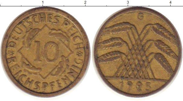 Картинка Монеты Веймарская республика 10 пфеннигов Латунь 1925