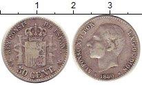 Изображение Монеты Испания 50 сентим 1880 Серебро XF- Альфонсо XII.