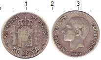 Изображение Монеты Испания 50 сентим 1880 Серебро XF-