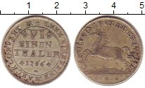 Изображение Монеты Брауншвайг-Вольфенбюттель 1/6 талера 1766 Серебро XF