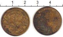 Изображение Монеты Франция Французская Африка 1 франк 1944 Латунь VF