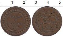 Изображение Монеты Тунис 5 сентим 1912 Бронза XF