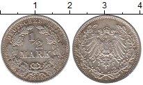 Изображение Монеты Германия 1/2 марки 1915 Серебро XF