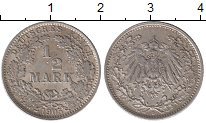 Изображение Монеты Германия 1/2 марки 1905 Серебро XF