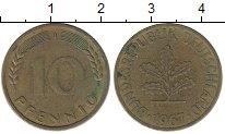 Изображение Монеты ФРГ 10 пфеннигов 1967 Латунь XF