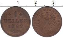 Изображение Монеты Франкфурт 1 хеллер 1862 Медь XF