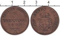 Изображение Монеты Пруссия 3 пфеннига 1855 Медь XF