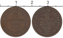 Изображение Монеты Саксония 2 пфеннига 1862 Медь XF