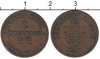 Изображение Монеты Германия Саксония 2 пфеннига 1862 Медь XF