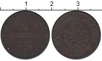 Изображение Монеты Германия Саксония 2 пфеннига 1864 Медь XF-