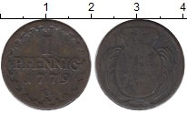 Изображение Монеты Германия Саксония 1 пфенниг 1779 Медь VF