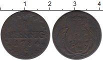Изображение Монеты Германия Саксония 1 пфенниг 1784 Медь VF
