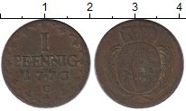 Изображение Монеты Германия Саксония 1 пфенниг 1773 Медь VF