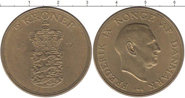 Картинка Монеты Дания 2 кроны Латунь 1957