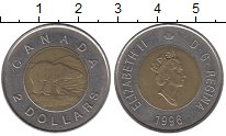 Изображение Монеты Канада 2 доллара 1996 Биметалл XF Белый медведь