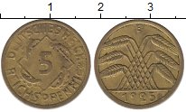 Изображение Монеты Веймарская республика 5 пфеннигов 1925 Латунь XF-