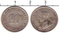 Изображение Монеты Стрейтс-Сеттльмент 10 центов 1918 Серебро XF