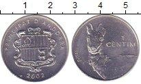 Изображение Монеты Андорра 1 сентим 2002 Алюминий UNC- Лама