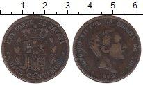 Изображение Монеты Испания 10 сентимо 1878 Бронза XF