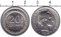 Изображение Монеты Колумбия 20 сентаво 1967 Медно-никель XF