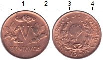 Изображение Монеты Колумбия 5 сентаво 1967 Медь XF Флора.