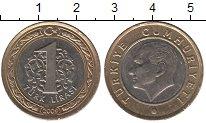 Изображение Монеты Турция 1 лира 2009 Биметалл UNC-