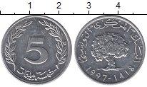 Изображение Монеты Тунис 5 миллим 1997 Алюминий UNC- Дерево.