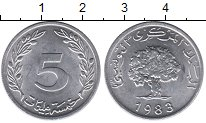 Изображение Мелочь Тунис 5 миллим 1983 Алюминий UNC-
