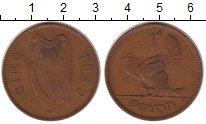 Изображение Монеты Ирландия 1 пенни 1949 Бронза XF Курица с цыплятами.