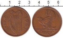 Изображение Монеты Ирландия 1 пенни 1963 Бронза XF Курица с цыплятами.