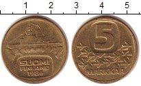 Изображение Монеты Финляндия 5 марок 1986 Латунь XF Корабль.