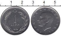 Изображение Монеты Турция 1 лира 1974 Сталь UNC-