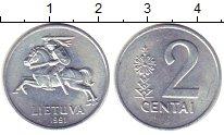 Изображение Монеты Литва 2 сенти 1991 Алюминий UNC- /
