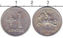 Изображение Монеты Литва 1 цент 1991 Алюминий XF /