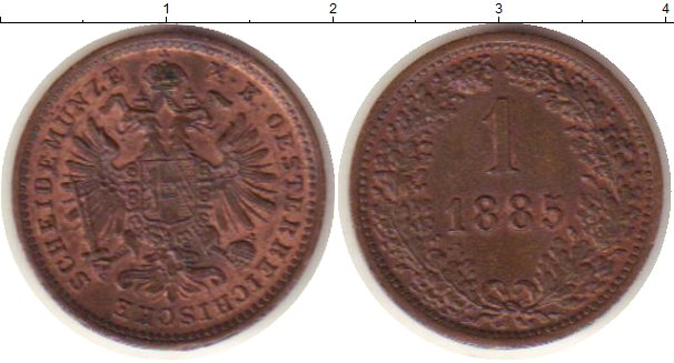 Картинка Монеты Австрия 1 крейцер Медь 1885