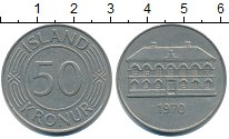 Изображение Монеты Исландия 50 крон 1970 Медно-никель XF Здание парламента.