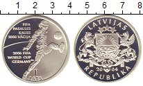 Изображение Монеты Латвия 1 лат 2004 Серебро Proof- ЧМ по футболу в Герм