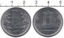 Изображение Монеты Индия 2 рупии 2011 Медно-никель XF
