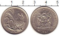 Изображение Монеты ЮАР 20 центов 1981 Медно-никель XF