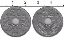 Изображение Монеты Франция 20 сантимов 1942 Алюминий XF