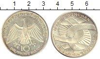 Изображение Монеты ФРГ 10 марок 1972 Серебро UNC- Олимпиада 1972 в Мюн