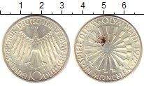 Изображение Монеты ФРГ 10 марок 1972 Серебро UNC- G Олимпиада 72. Мюнх