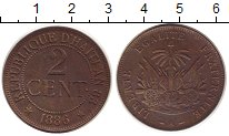 Изображение Монеты Гаити 2 цента 1886 Бронза XF