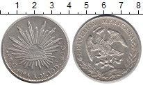 Изображение Монеты Мексика 8 реалов 1894 Серебро XF Солнце.