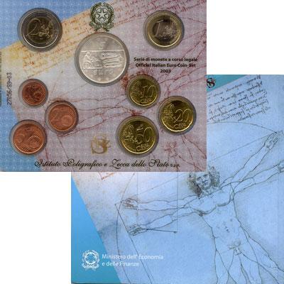 Изображение Подарочные монеты Италия Годовой набор евромонет 2003 2003  UNC